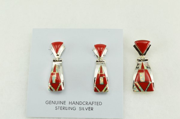 Sterling silver coral and white opal inlay candy corn shaped earrings and pendant set. S195