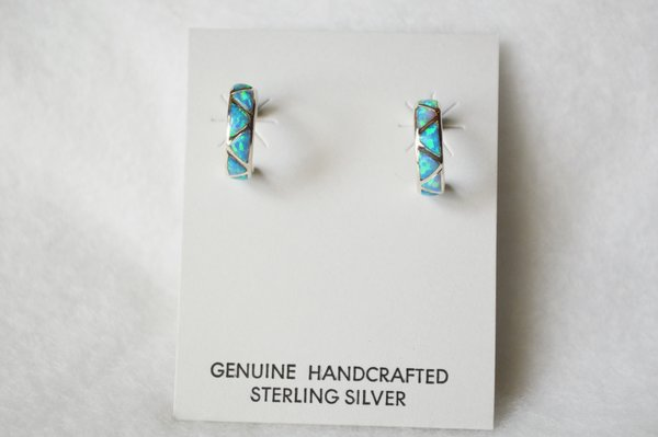 Sterling silver blue opal inlay hoop post earrings. E220