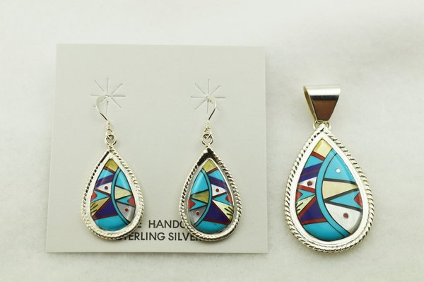 Sterling silver multi color inlay raindrop shaped earrings and pendant set. S283