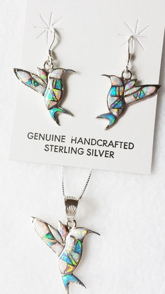 "Sterling silver blue, white and pink opal inlay hummingbird dangle earrings and 18"" sterling silver box chain necklace set. S016"