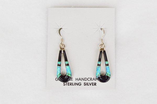 Sterling silver black onyx/blue opal inlay hollow teardrop dangle earrings. E119