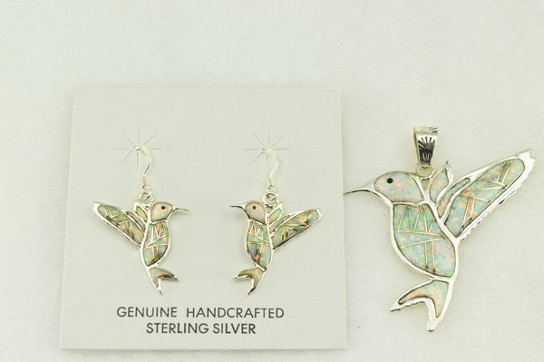 Sterling silver white opal inlay hummingbird earrings and pendant set. S188