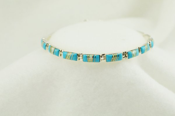 """Sterling silver turquoise and white opal inlay link 7.5"""" bracelet. B051"""