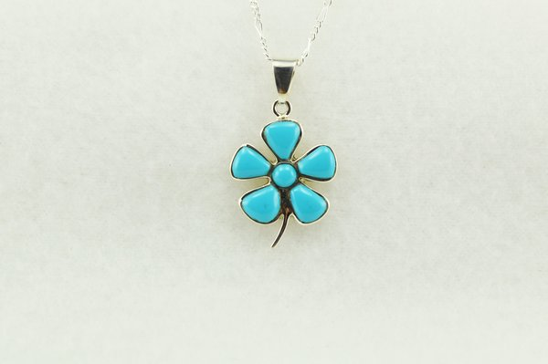 """Sterling silver turquoise flower pendant with sterling silver 18"""" figaro chain. N205"""