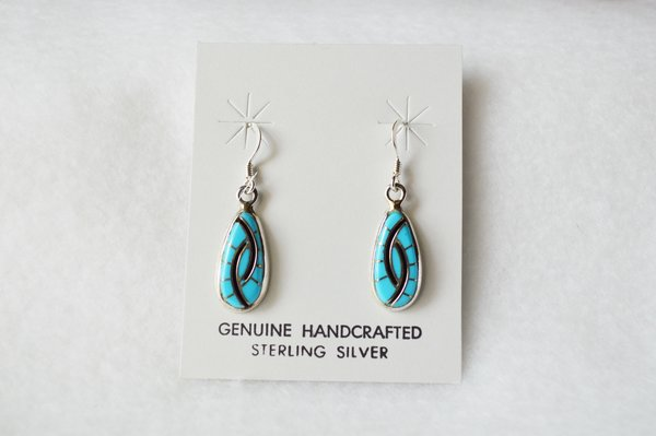 Sterling silver turquoise and black onyx inlay dangle earrings. (E051)