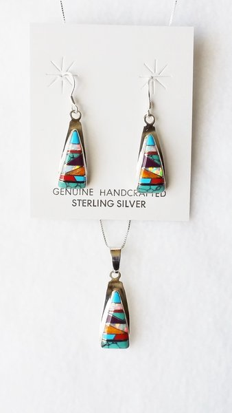 "Sterling silver multi color inlay (horizontal) triangle dangle earrings and 18"" sterling silver box chain necklace set. S110"