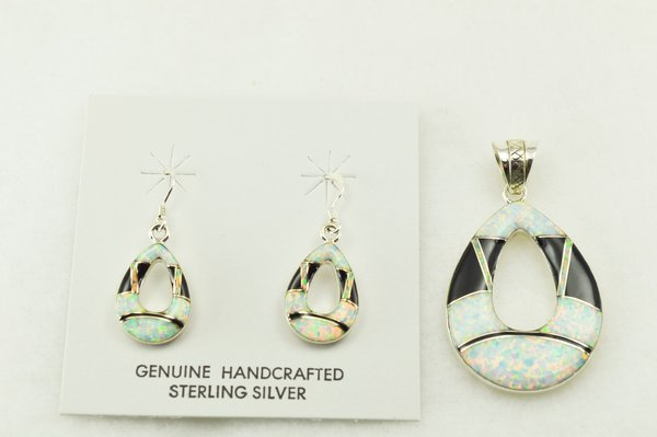 Sterling silver black onyx and white opal inlay hollow raindrop earrings and pendant set. S213