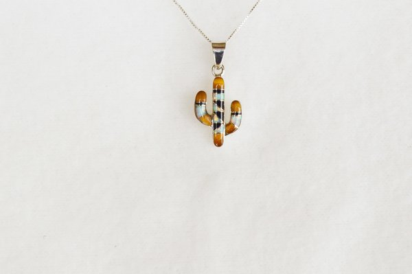 """Sterling silver white opal, tiger eye and black onyx inlay cactus pendant with sterling silver 18"""" box chain. N071."""