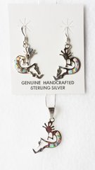 """Sterling silver blue, white and pink opal inlay kokopelli dangle earrings and 18"""" sterling silver box chain necklace set. S017"""