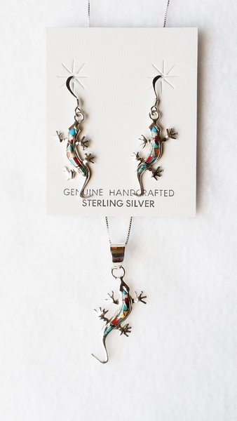 "Sterling silver multi inlay color lizard dangle earrings and 18"" sterling silver box chain necklace set. S093"