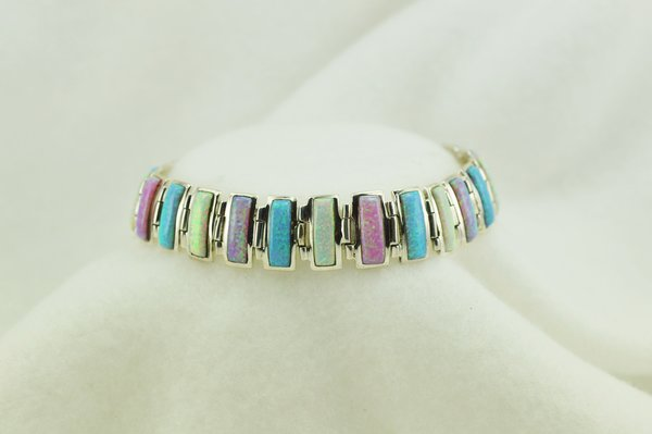"Sterling silver white, pink and blue opal link 8"" bracelet. B084"