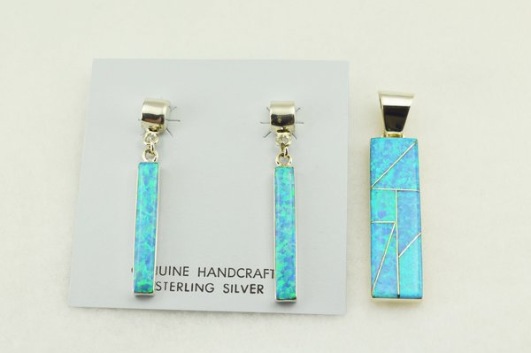 Sterling silver blue opal inlay rectangle earrings and pendant set. S259