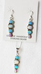 """Sterling silver blue, white and pink opal inlay 4 oval dangle earrings and 18"""" sterling silver box chain necklace set. S019"""