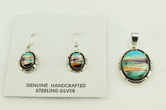 Sterling silver multi color inlay oval earrings and pendant set. S128