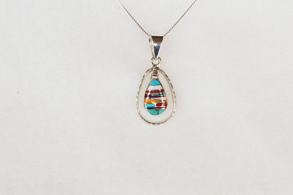 """Sterling silver multi color inlay teardrop in hoop pendant with sterling silver 18"""" box chain. N011"""