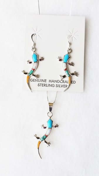 "Sterling silver multi color inlay large lizard dangle earrings and 18"" sterling silver box chain necklace set. S117"