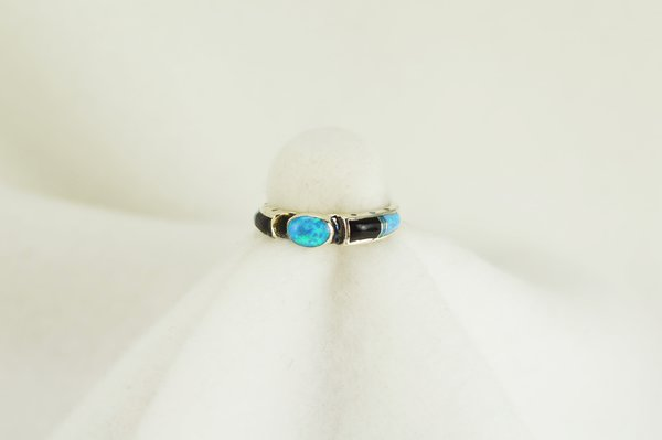 Sterling silver black onyx and blue opal inlay ring. R065