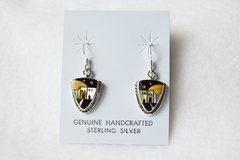 Sterling silver inlay adobe arrowhead earrings. E073