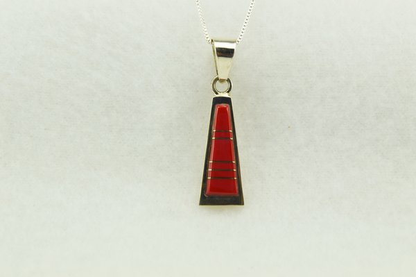 "Sterling silver coral tall triangle pendant with sterling silver 18"" box chain. N265"