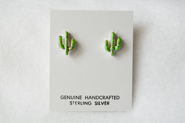 Sterling silver post cactus earrings (E013)