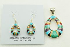 Sterling silver multi color inlay hollow raindrop earrings and pendant set. S150