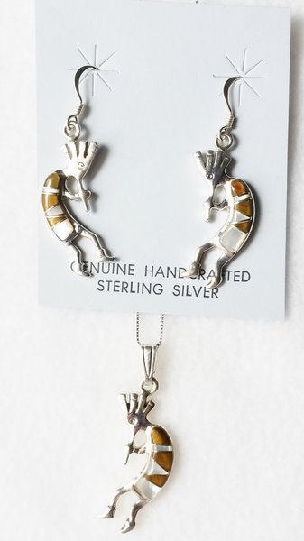 """Sterling silver white opal, black onyx and tiger eye inlay kokopelli dangle earrings and 18"""" sterling silver box chain necklace set. S012"""