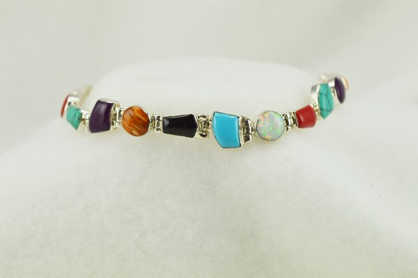 "Sterling silver multi color multi shape link 8"" bracelet. B100"