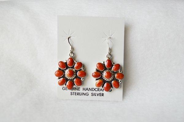 Sterling silver coral flower dangle earrings. (E063)