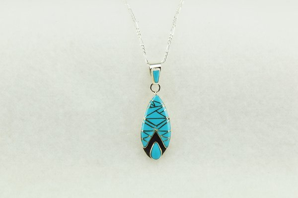 """Sterling silver turquoise inlay teardrop pendant with sterling silver 18"""" figaro chain. N198"""