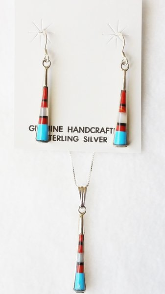 "Sterling silver multi color inlay tall round dangle earrings and 18"" sterling silver box chain necklace set. S119"