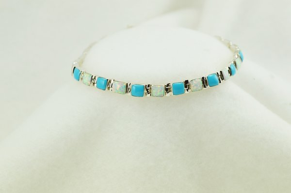 """Sterling silver turquoise and white opal square link 7.75"""" bracelet. B059"""