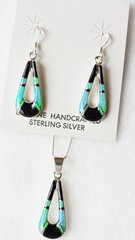 "Sterling silver blue opal and black onyx inlay hollow teardrop dangle earrings and 18"" sterling silver box chain necklace set. S037"