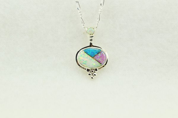 "Sterling silver pink, white and blue opal inlay oval pendant with sterling silver 18"" figaro chain. N251"
