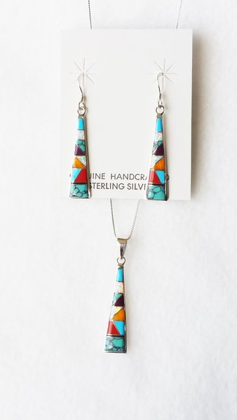 """Sterling silver multi color inlay tall triangle dangle earrings and 18"""" sterling silver box chain necklace set. S118"""