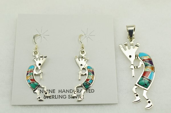 Sterling silver multi color inlay kokopelli earrings and pendant set. S139
