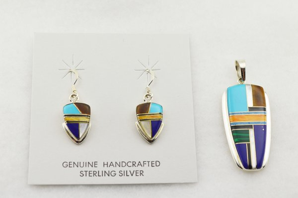Sterling silver multi color inlay arrowhead shaped earrings and pendant set. S278