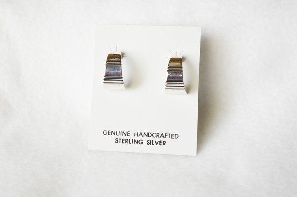 Sterling silver medium/wider hoop post earrings. E343