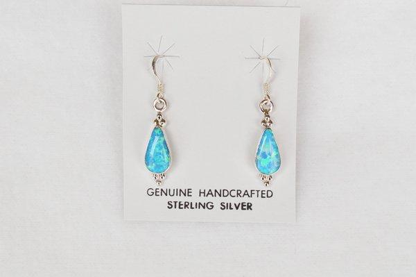 Sterling silver blue opal teardrop dangle earrings. E101