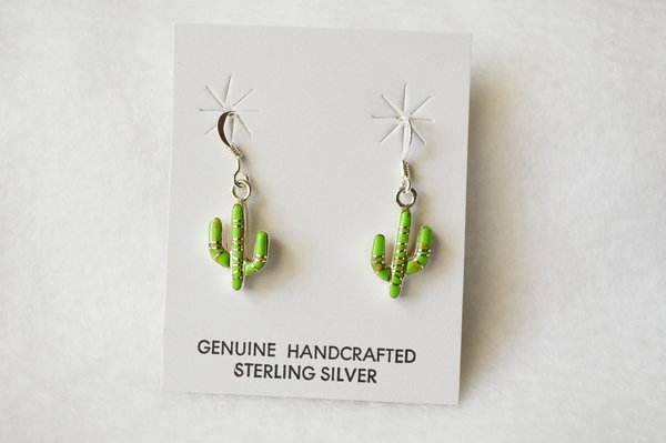 Sterling silver gaspeite inlay cactus dangle earrings. E156