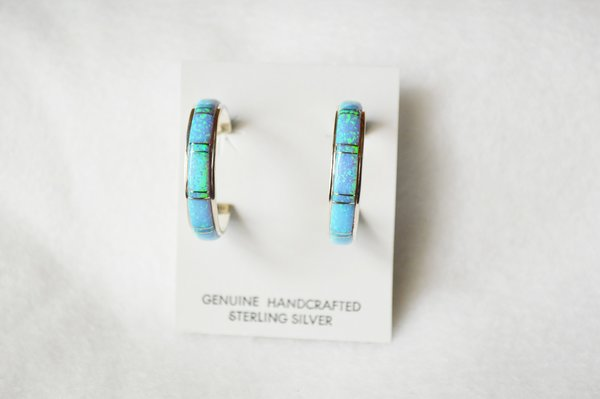 Sterling silver blue opal inlay large hoop post earrings. E273