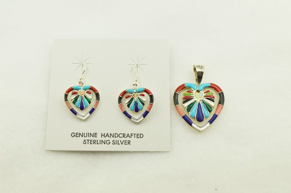 Sterling silver multi color inlay heart earrings and pendant set. S313