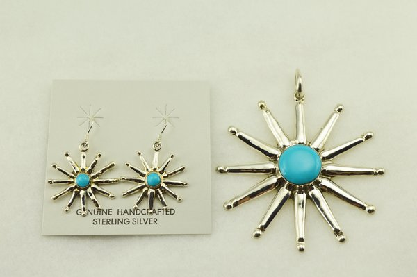 Sterling silver turquoise star earrings and pendant set. S251