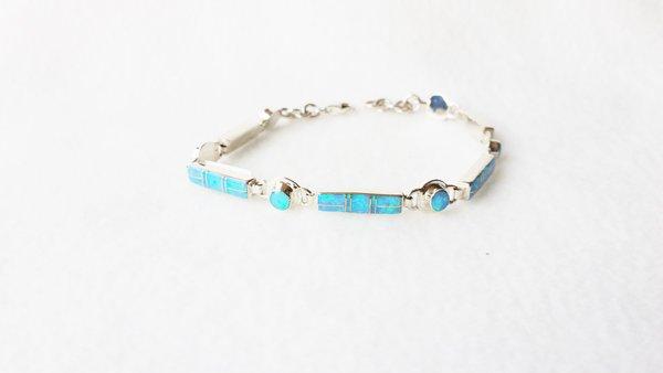 """Sterling silver blue opal inlay 7.75"""" mini link bracelet. B005"""