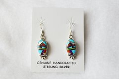 Sterling silver multi color inlay oval dangle earrings. E085