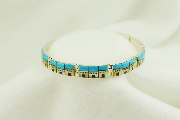 "Sterling silver adobe link 7.75"" bracelet. B048"