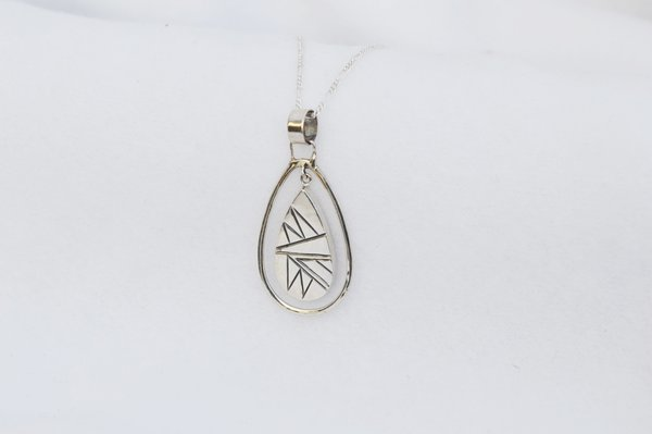 "Sterling silver teardrop in a hoop pendant with sterling silver 18"" figaro chain. N175"