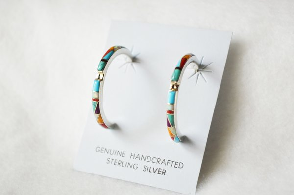 Sterling silver multi color large/thin hoop post earrings. E277