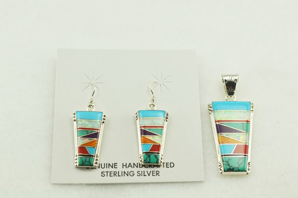 Sterling silver multi color inlay cork shaped earrings and pendant set. S148