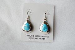 Sterling silver turquoise inlay teardrop dangle earrings. (E054)
