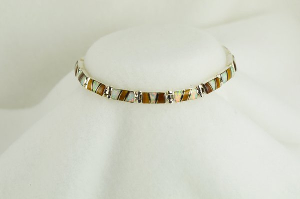 "Sterling silver multi color opal, black onyx and tiger eye inlay 8"" bracelet. B034"